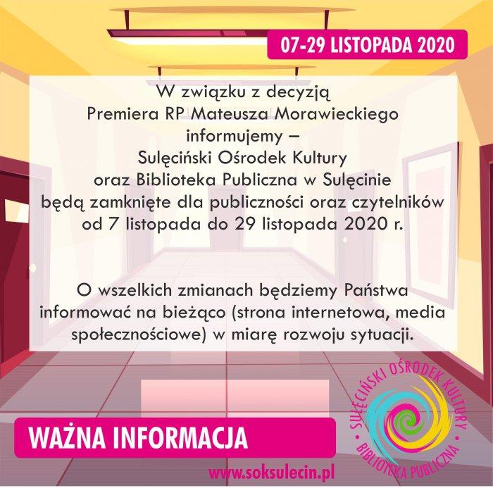 Komunikat dotyczący funkcjonowania od dn. 7. listopada